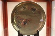 Sale 8040 - Lot 98 - Japanese Silver & Copper Overlay Brass Charger with a Signature Panel