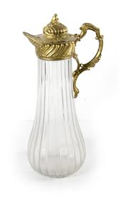 Sale 8224A - Lot 48 - A tall vintage French gilt metal & shaped glass wine carafe / ewer, 33 cm tall