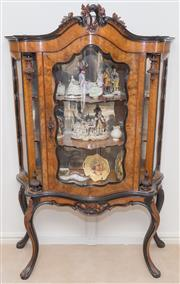 Sale 8341A - Lot 92 - An antique carved and figured walnut display cabinet with bow front glass door, H 175 x W 140 x D 47cm