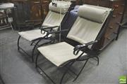 Sale 8338 - Lot 1465 - Pair of Metal Framed Patio Chairs