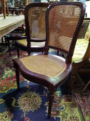 Sale 8562 - Lot 1024 - Set of Six Timber Framed Chairs with Rattan Back & Seat