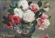 Sale 8583 - Lot 571 - Margaret Coen (1913 - 1993) - Mixed Roses 15 x 20cm