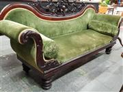 Sale 8792 - Lot 1020 - Victorian Mahogany Double Ended Settee with a pierced, carved back, upholstered in a green velvet, and raised on turned legs, W 230cm