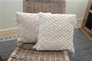 Sale 8858H - Lot 9 - Pair of Macrame Style Fringed Cushions (Filled), H 45 x W 45 cm, as new -