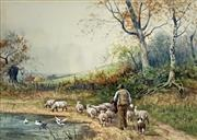 Sale 8894A - Lot 5025 - Henry Murray - Bringing Home the Lambs 25 x 35 cm