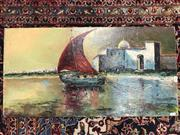 Sale 9045 - Lot 2083 - Eugene Johanersson Pilgrims Arriving at the Mosque and Townscape oil on canvas laid on board (unframed) 41 x 79cm, signed lower right