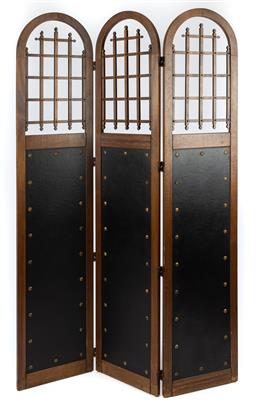 Sale 9135H - Lot 65 - A French arts and crafts three fold screen. 1.98M Height, 1.3M Width