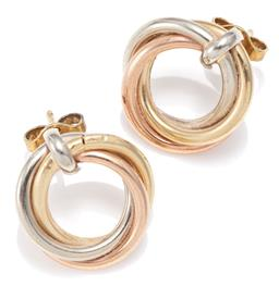 Sale 9156J - Lot 342 - A PAIR OF 9CT THREE TONE GOLD HOOP STUD EARRINGS; entwined triple hoops in yellow, pink and white gold, width 15.5mm, wt.1.89g.