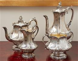 Sale 9099 - Lot 19 - A Victorian sterling silver four piece service comprising of a coffee pot, teapot, sugar basin and cream jug., hallmarked London, c....