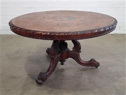 Sale 9179 - Lot 1028 - Good Victorian Exhibition Quality Supper Table, with multi-toned marquetry round top, with central ebonised floral medallion, the wi...