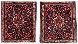 Sale 9181C - Lot 13 - An unusual matching pair of floral Sarouk rugs in Navy tones 76 x 65cm