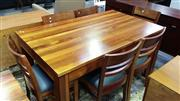 Sale 8147 - Lot 1030 - Oz Design Timber Seven Piece Dining Setting with Green Leather Seats
