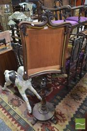 Sale 8326 - Lot 1658 - Victorian Rosewood Pole Screen on Turned Pedestal