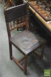 Sale 8337 - Lot 1021 - Set of Five French or Flemish Timber Framed Chairs with Leather Seats