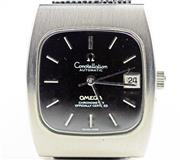 Sale 8402W - Lot 41 - OMEGA CONSTELLATION AUTOMATIC CHRONOMETER WRISTWATCH; cushion shape black dial with applied baton markers, centre seconds quick set...