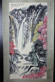 Sale 8393 - Lot 83 - Chinese Scroll; Waterfall with Cherry Blossoms Depiction on Light Brown & Pale Green Mounting; Signed