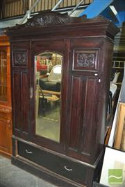 Sale 8406 - Lot 1133 - Mahogany Wardrobe with Central Mirrored Door