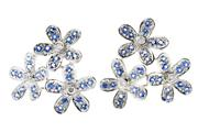 Sale 8547 - Lot 459 - A PAIR OF 18CT WHITE GOLD SAPPHIRE AND DIAMOND EARRINGS; floral spays set with 6 round brilliant cut diamonds and round cut blue sap...