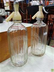 Sale 8566 - Lot 1163 - Two Etched Soda Syphons for Schweppes and Tooths