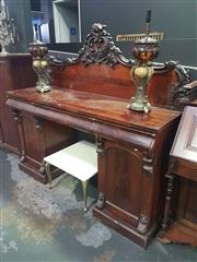 Sale 8648C - Lot 1009 - Carved Mahogany Twin Pedestal Sideboard with Three Frieze Drawers & Two Doors