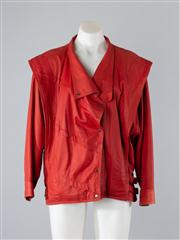 Sale 8685F - Lot 100 - A Dynamite red leather jacket with cascading lapels, size 10