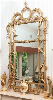 Sale 8881H - Lot 64 - A Chippendale style mirror with gilt gesso frame. Height 140cm