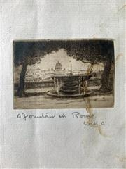 Sale 8894A - Lot 5026 - Will Ashton (1881 - 1963) - Christmas Card, a Fountain In Rome 14.5 x 22 cm