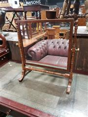 Sale 9048 - Lot 1085 - Mahogany Toilet Mirror, in the late Georgian manner, with finely turned posts & stretcher 51 x 45cm
