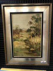 Sale 9072 - Lot 2032 - Norman Robins, Bush Landscape with River, oil on board, frame: 64 x 49 cm, signed lower right -