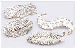 Sale 9180E - Lot 151 - A group of four name badges including two hallmarked examples, for maggie, martha, nellie and lucy