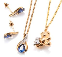 Sale 9149 - Lot 311 - A 9CT GOLD STONE SET PENDANT AND EARRINGS SUITE PLUS TEDDY CHARM; pendant and stud earrings set with synthetic sapphires and single...