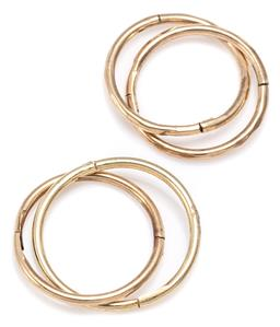 Sale 9168J - Lot 303 - TWO PAIRS OF GOLD AND SILVER GILT SLEEPERS; 13mm round 9ct gold hoops and  15mm round silver gilt hoops, total wt. 1.49g.