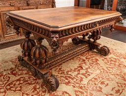 Sale 9160H - Lot 209 - An impressive French renaissance oak centre table/desk with single drawer, carved cup and cover baluster supports, and stretcher bas...
