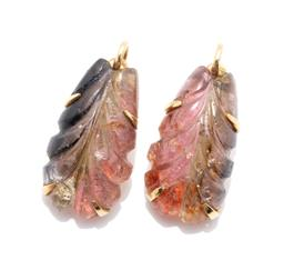 Sale 9253J - Lot 432 - A PAIR OF 18CT GOLD GEMSET EARRING PENDANTS BY WHITE; carved leaf design in polychrome quartz to hook backs (no fittings), size 24.5...
