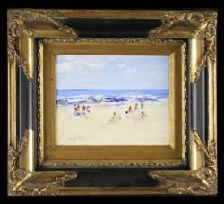 Sale 7923 - Lot 577 - Donald Fraser - Beach Scene 20 x 25cm