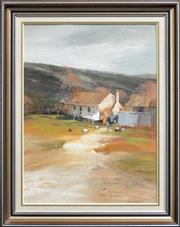 Sale 8309 - Lot 514 - Colin Parker (1941 - ) - Farm at Turondale, N.S.W 1984 59.5 x 44cm