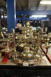 Sale 8327 - Lot 74 - Silver Plated Pair of Part Candelabra & Other Plated Ware Incl Kettle Stand