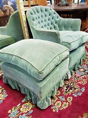 Sale 8566 - Lot 1669 - Green Upholstered Button Back Tub Chair & Matching Ottoman (2)