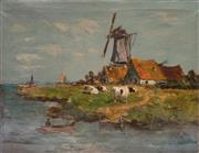Sale 8599A - Lot 97 - Artist Unknown (Antique Dutch school) - River scene with cattle H 56 x W 76cm