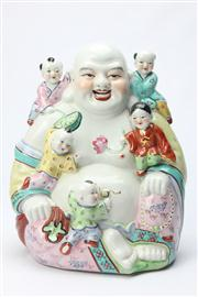 Sale 8670 - Lot 224 - Large Porcelain Hotei with Children