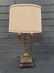 Sale 8993 - Lot 1054 - Candelabra Style Brass Table Lamp, with turned column, two candle style branches & cream shade (H: 61 x W: 30 x D: 40cm)