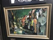 Sale 9033 - Lot 2042 - Lesley Pockol Abstract street scene, oil on board, 60x83cm (frame), signed lower right