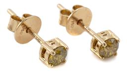 Sale 9164J - Lot 465 - A PAIR 18CT GOLD SOLITAIRE DIAMOND STUD EARRINGS; each set with a round brilliant cut treated yellow diamond, 2 total approx. 0.38ct...