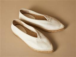 Sale 9093F - Lot 23 - A pair of Celine pointy toe white leather espadrilles, size 36