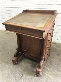 Sale 9126 - Lot 1212 - Victorian Walnut Davenport, with gallery back & green leather writing slope, with carved supports & four drawers (h:84 w:66 d:57cm)
