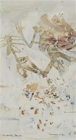 Sale 9170 - Lot 505 - MARGARET WOODWARD (1938 - ) Kimberley Dance, 1992 watercolour and gouache 22 x 13 cm (frame: 55 x 45 x 2 cm) signed and dated lower ...