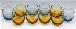 Sale 9173 - Lot 23 - Libbey Glass, A Group of  Ten Vintage MCM Polychrome Roly Poly Glass Tumblers