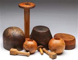 Sale 9173 - Lot 95 - A collection of vintage hat blocks and stands