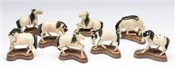 Sale 9175 - Lot 213 - A Group of Eight Ivory Figures of Horses (L:5.5cm)
