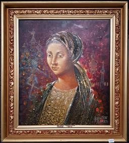 Sale 9176 - Lot 2017 - Giuseppe Risicato Ballerina from Russia oil and mixed media on board 67 x 58cm, signed lower right